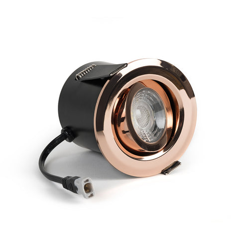 Rose Gold Tiltable Adjustable 4k Fire Rated LED 6W IP44 Dimmable Downlight
