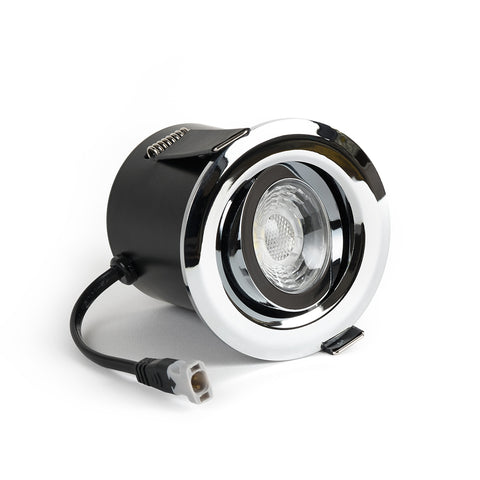 Polished Chrome Adjustable Tiltable 2.8K Fire Rated LED 6W IP44 Dimmable Downlight