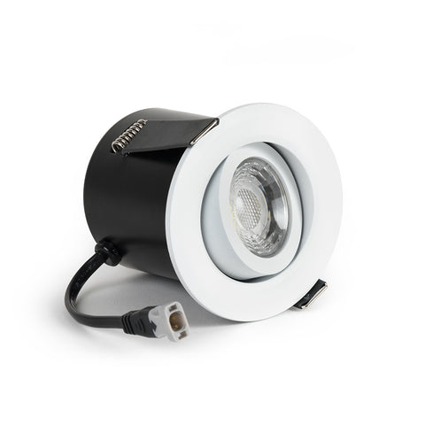White Tiltable 2.8K Fire Rated LED 6W IP44 Dimmable Downlight
