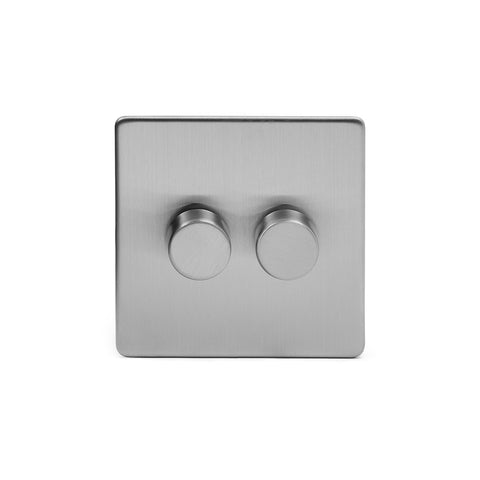 Screwless Brushed Chrome 2 Gang 2 Way Intelligent Trailing Dimmer Light Switch