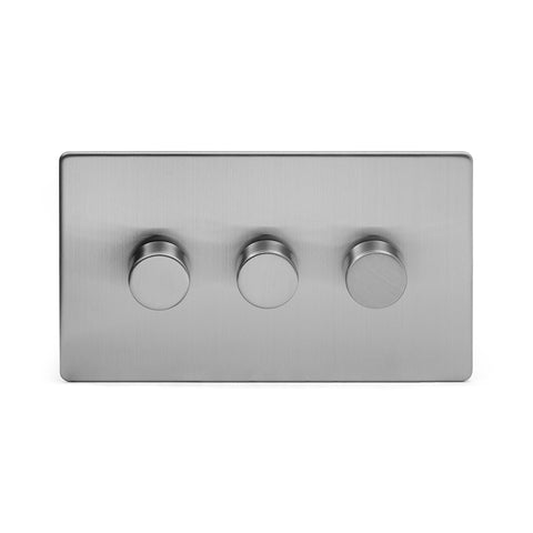 Screwless Brushed Chrome 3 Gang 2 Way Intelligent Trailing Dimmer Light Switch