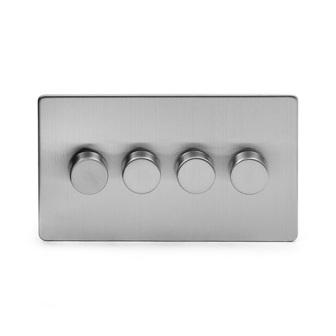 Screwless Brushed Chrome 4 Gang 2 Way Intelligent Trailing Dimmer Light Switch