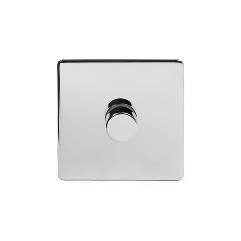 Screwless Polished Chrome 1 Gang 2 Way Intelligent Trailing Dimmer Light Switch