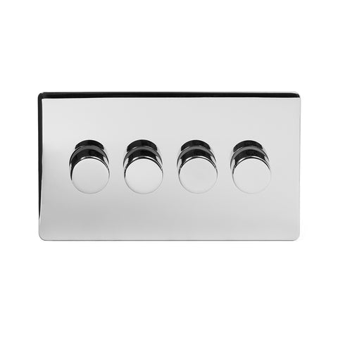 Screwless Polished Chrome 4 Gang 2 Way Intelligent Trailing Dimmer Light Switch