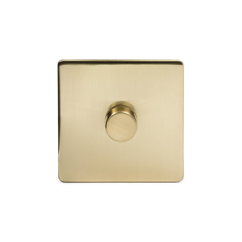 Screwless Brushed Brass 1 Gang 2 Way Intelligent Trailing Dimmer Light Switch