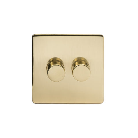 Screwless Brushed Brass 2 Gang 2 Way Intelligent Trailing Dimmer Light Switch