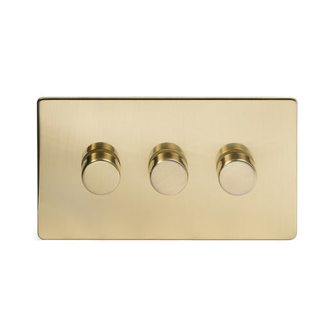Screwless Brushed Brass 3 Gang 2 Way Intelligent Trailing Dimmer Light Switch