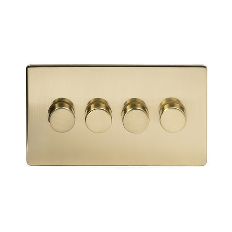 Screwless Brushed Brass 4 Gang 2 Way Intelligent Trailing Dimmer Light Switch  - Black