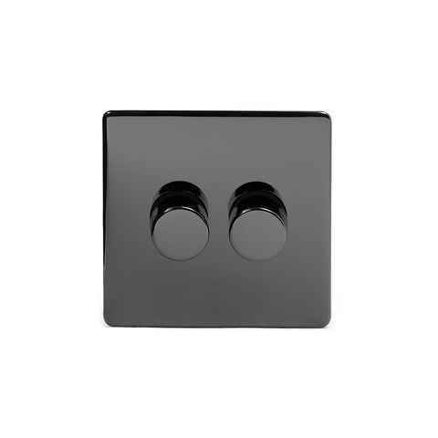 Screwless Black Nickel 2 Gang 2 Way Intelligent Trailing Dimmer Light Switch