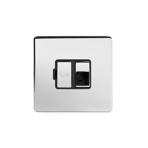 Screwless Polished Chrome 13A Double Pole Switched Fuse Connection Unit Light Switch