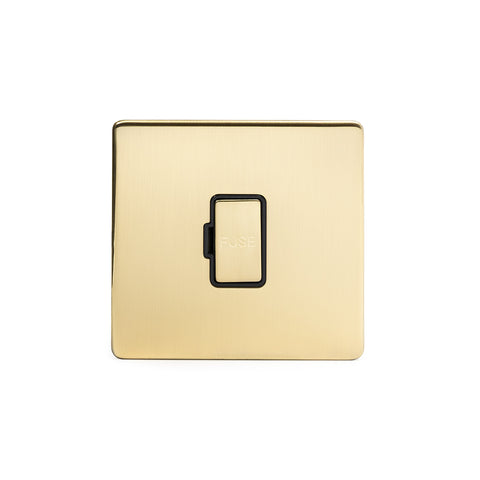 Screwless Brushed Brass 13A Double Pole Unswitched Fuse Connection Unit