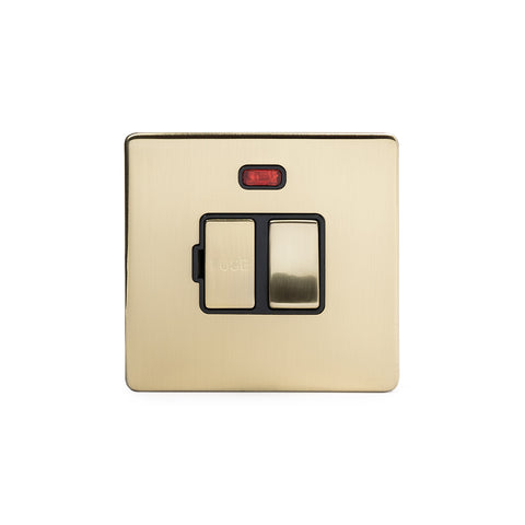 Screwless Brushed Brass 13A Double Pole Switched Fuse Connection Unit With Neon