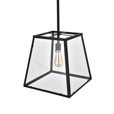 Geo Trapeze Metal and Glass Lantern Pendant Light
