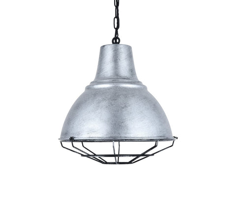 Compton Black Brushed White Caged Bell Hallway Pendant Light