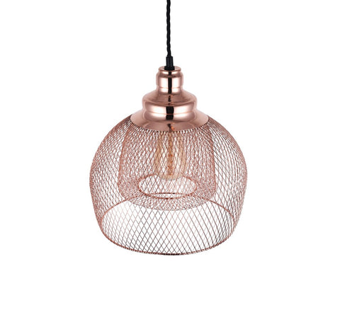 Cambridge Rose Gold Metal Mesh Pendant Light