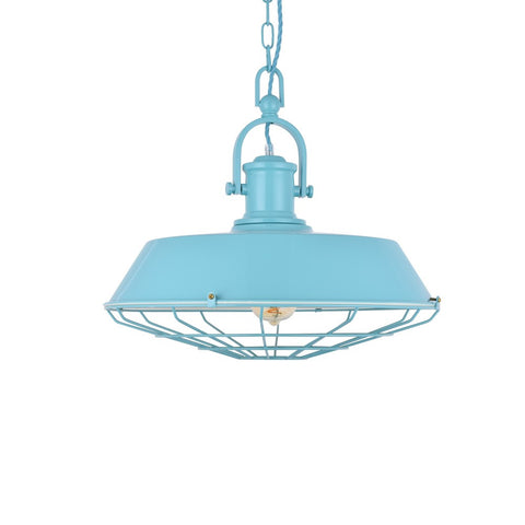 Brewer Cage Industrial  Pendant Light Duck Egg Blue Turquoise
