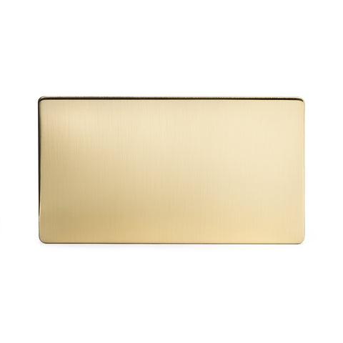 Screwless Brushed Brass Metal Double Blanking Plates