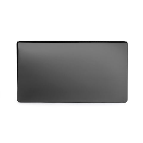 Screwless Black Nickel metal Double Blanking Plate