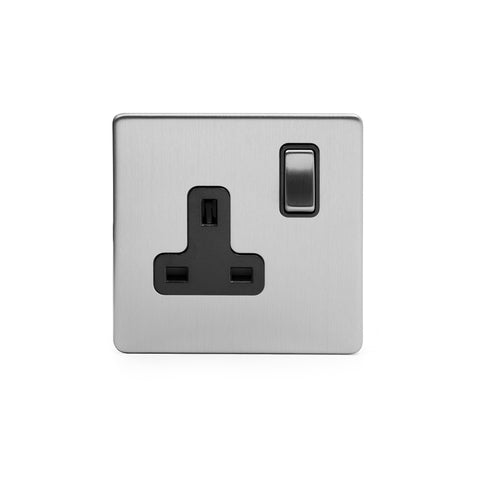 Screwless Brushed Chrome 13A 1 Gang Double Pole Plug Socket