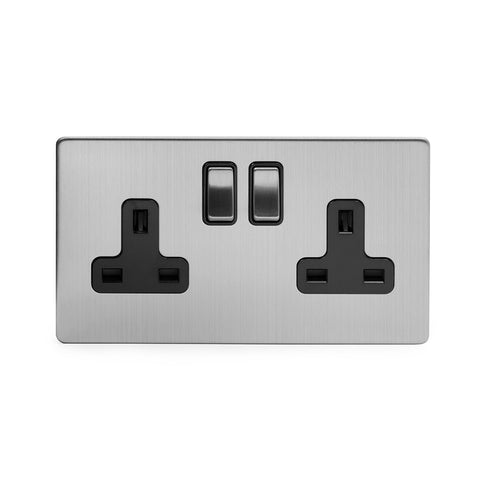 Screwless Brushed Chrome 13A 2 Gang Double Pole Plug Socket