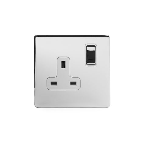 Screwless Polished Chrome 13A 1 Gang Double Pole Plug Socket