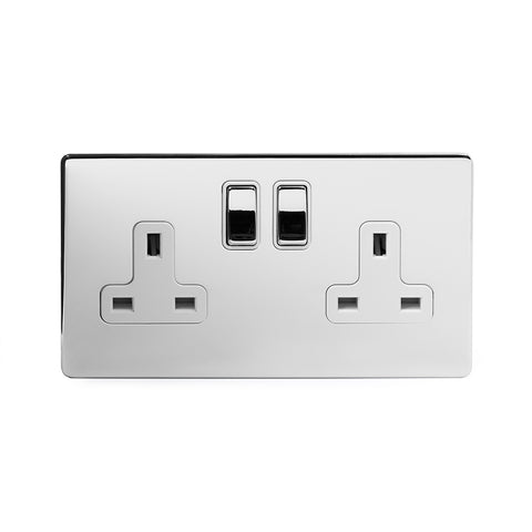 Screwless Polished Chrome 13A 2 Gang Double Pole Plug Socket