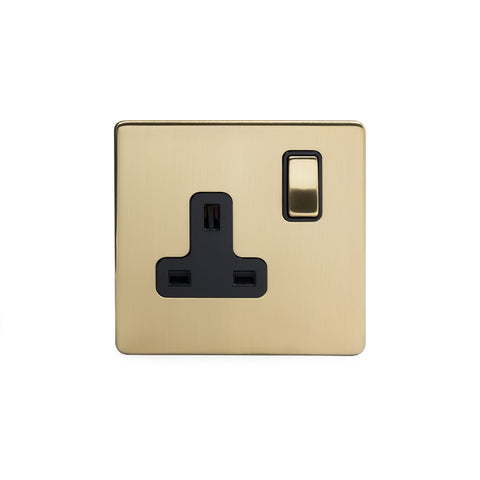 Screwless Brushed Brass 13A 1 Gang Double Pole Plug Socket