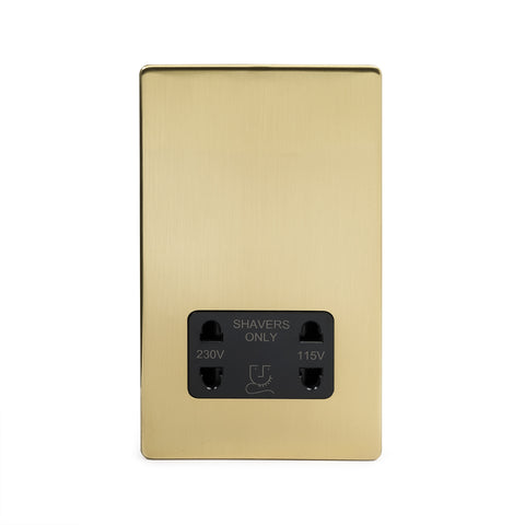 Screwless Brushed Brass 1 Gang Shaver Socket