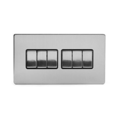 Screwless Brushed Chrome 10A 6 Gang 2 Way Light Switch