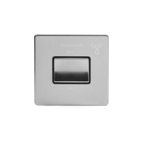 Screwless Brushed Chrome 3-Pole Fan Isolator Switch