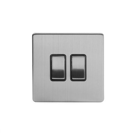 Screwless Brushed Chrome 10A 2 Gang Intermediate Light Switch