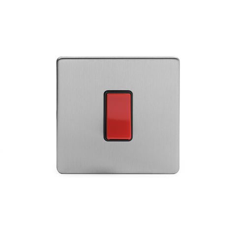 Screwless Brushed Chrome 45A 1 Gang Double Pole Switch- Single Plate