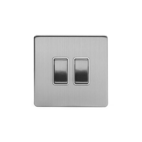 Screwless Brushed Chrome 10A 2 Gang 2 Way Light Switch