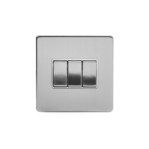 Screwless Brushed Chrome 10A 3 Gang 2 Way Light Switch