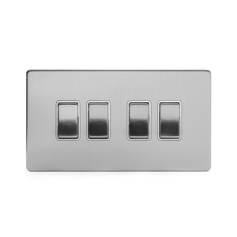 Screwless Brushed Chrome 10A 4 Gang 2 Way Light Switch