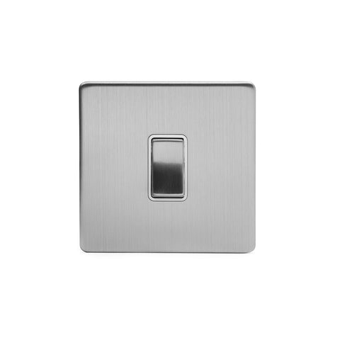 Screwless Brushed Chrome 10A 1 Gang Intermediate Light Switch
