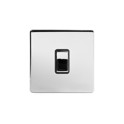 Screwless Polished Chrome 10A 1 Gang 2 Way Light Switch