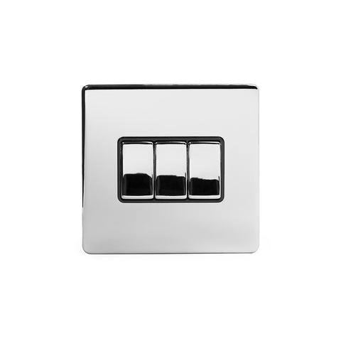Screwless Polished Chrome 10A 3 Gang 2 Way Light Switch
