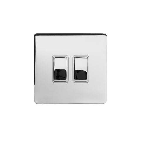 Screwless Polished Chrome 10A 2 Gang 2 Way Light Switch