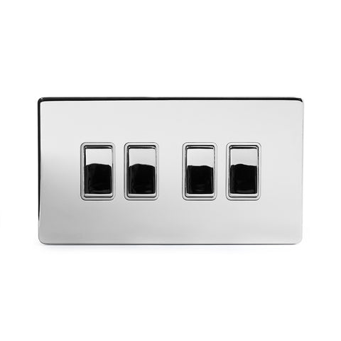 Screwless Polished Chrome 10A 4 Gang 2 Way Light Switch