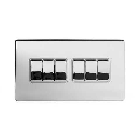Screwless Polished Chrome 10A 6 Gang 2 Way Light Switch