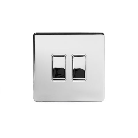 Screwless Polished Chrome 10A 2 Gang Intermediate Light Switch