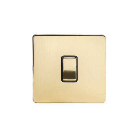Screwless Brushed Brass 10A 1 Gang 2 Way Light Switch  - Black