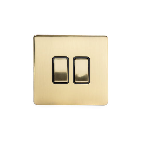 Screwless Brushed Brass 10A 2 Gang 2 Way Light Switch  - Black