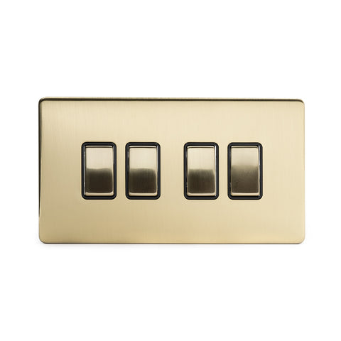 Screwless Brushed Brass 10A 4 Gang 2 Way Light Switch  - Black
