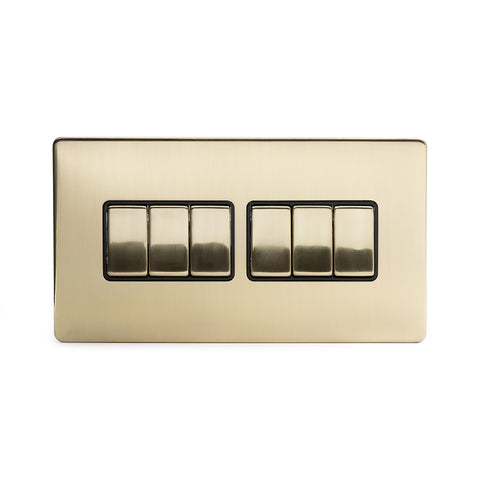 Screwless Brushed Brass 10A 6 Gang 2 Way Light Switch  - Black