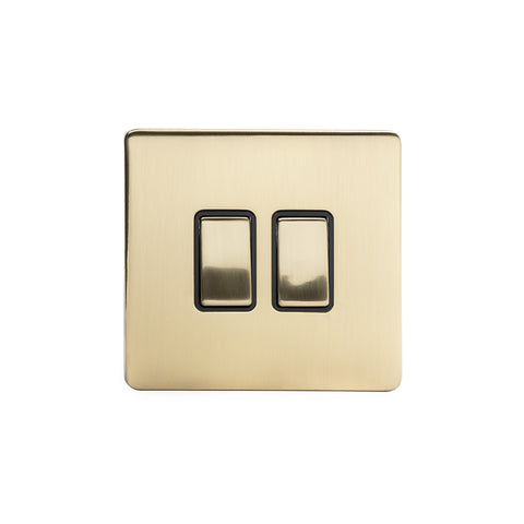 Screwless Brushed Brass 10A 2 Gang Intermediate Light Switch  - Black