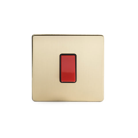 Screwless Brushed Brass 1 Gang 20 Amp Double Pole Switch - Single Plate