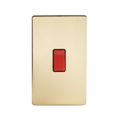Screwless Brushed Brass 45A 1 Gang Double Pole Switch - Large Plate