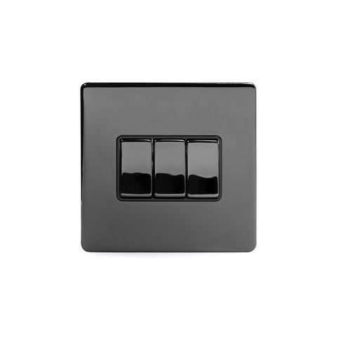 Screwless Black Nickel 10A 3 Gang 2 Way Light Switch